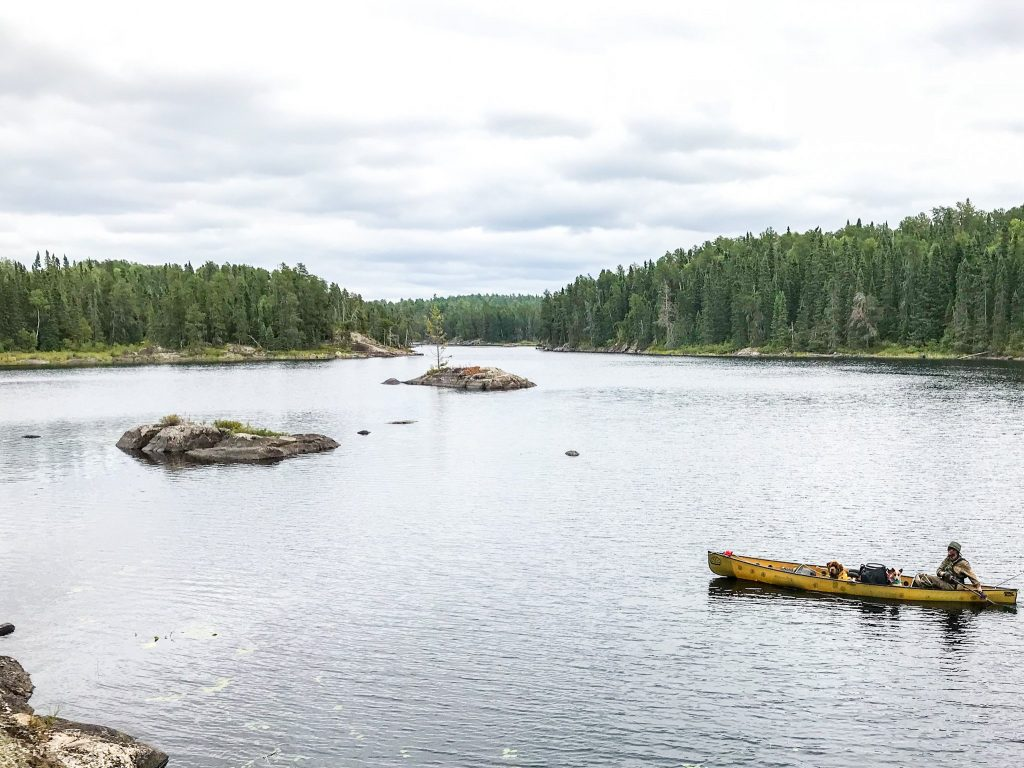 Yellow canoe paddling in Quetico Provincial Park
