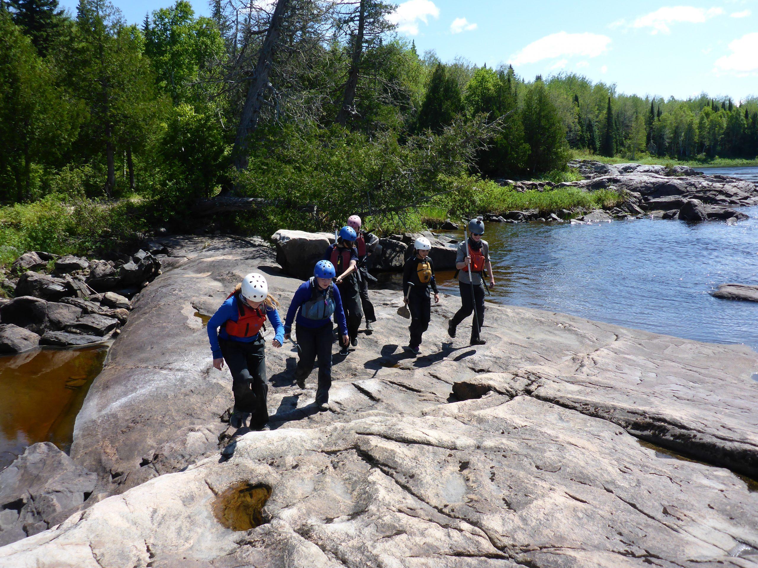 Scouting a Rapid before a potential portage