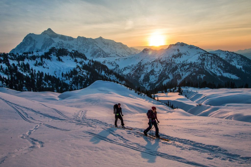 Backcountry skiing in the PNW during sunset
