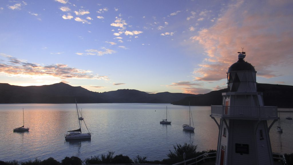 Akaroa, South Island, New Zealand sunset