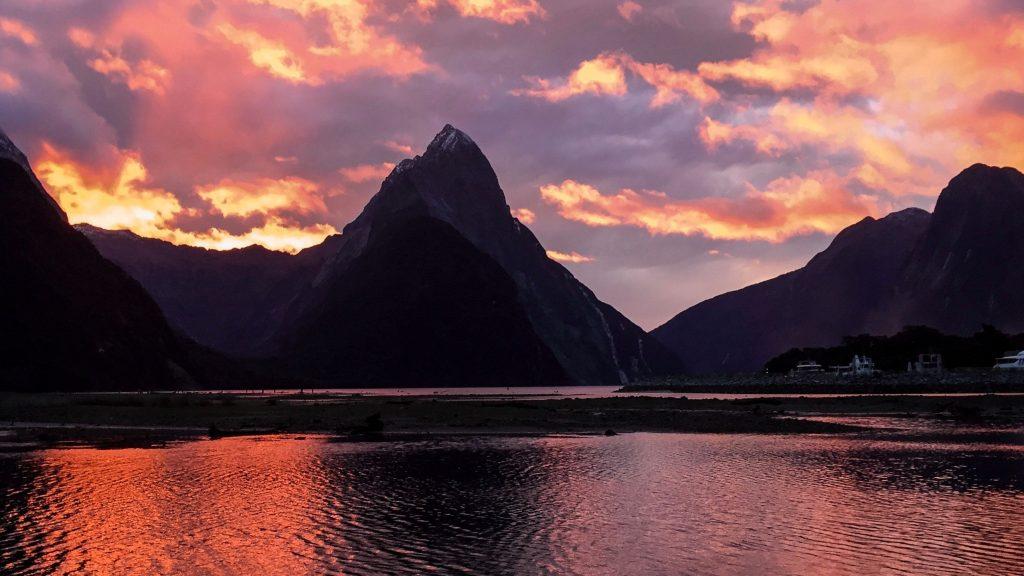 Milford Sound, Fiordland, South Island sunset