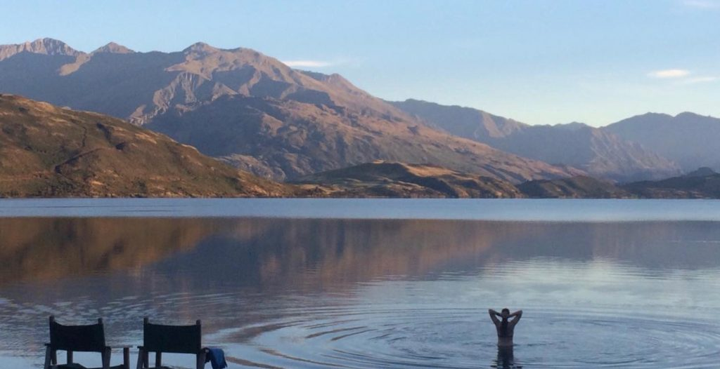 Swimming in Lake Wanaka on South Island New Zealand