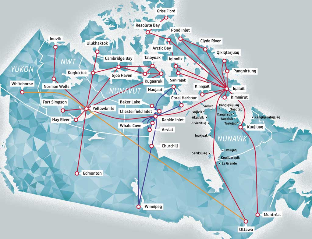 How to get to Nunavut - Canadian North Flight Map