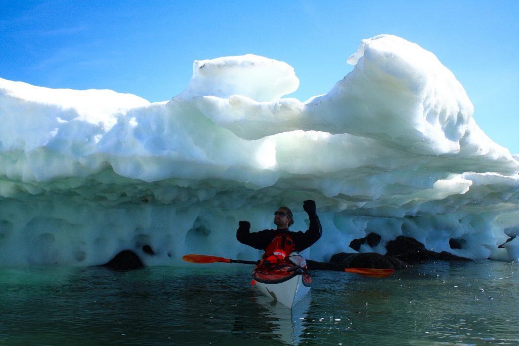 Kayaking under ice on Frobisher Bay, taken while living in Iqaluit Nunavut