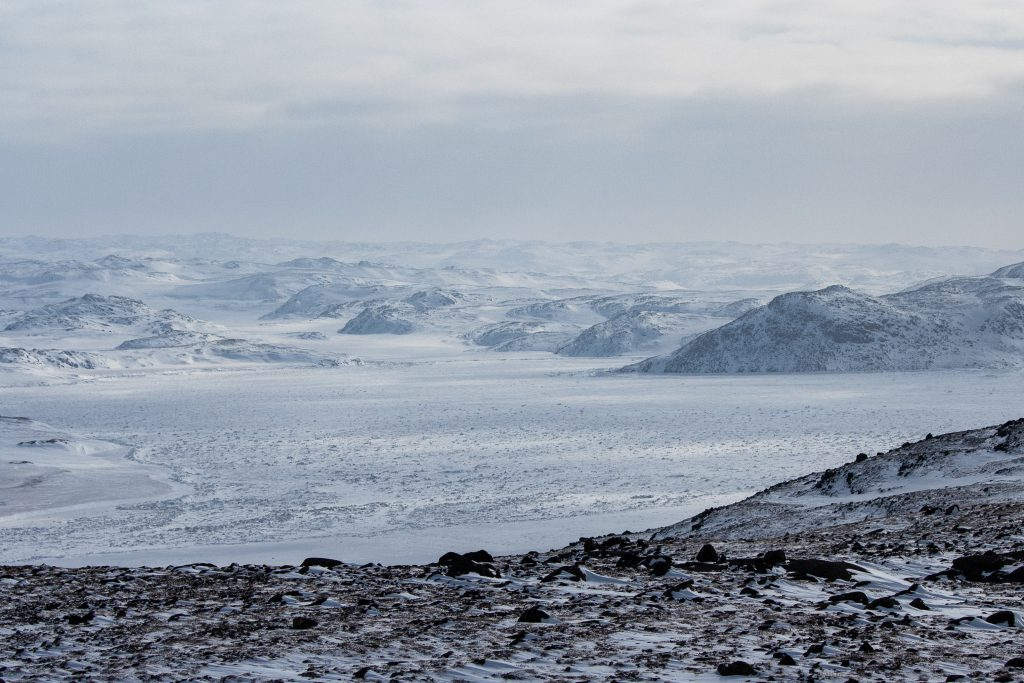 View of the tundra, taken while snowmobiling outside Iqaluit Nunavut