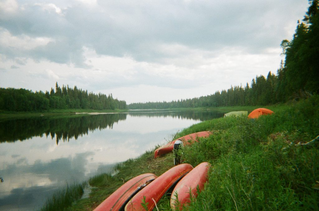 Cloudy morning to start canoeing on the Missinaibi River