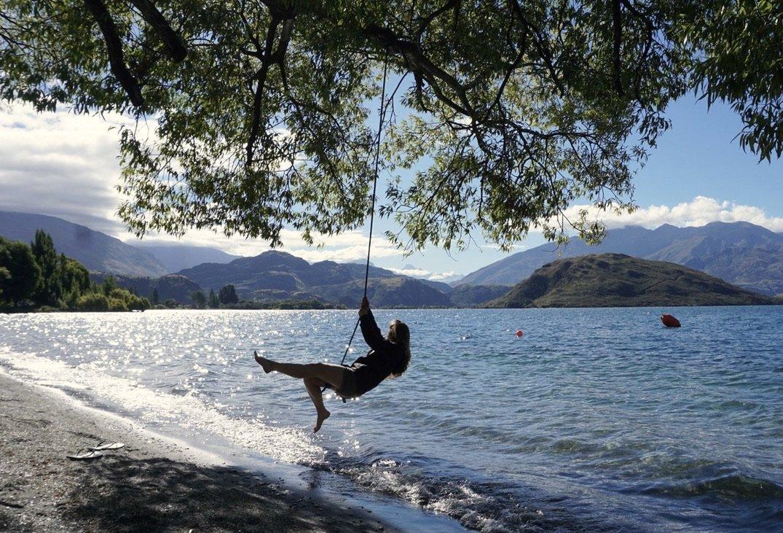 Having fun on a rope swing in Wanaka