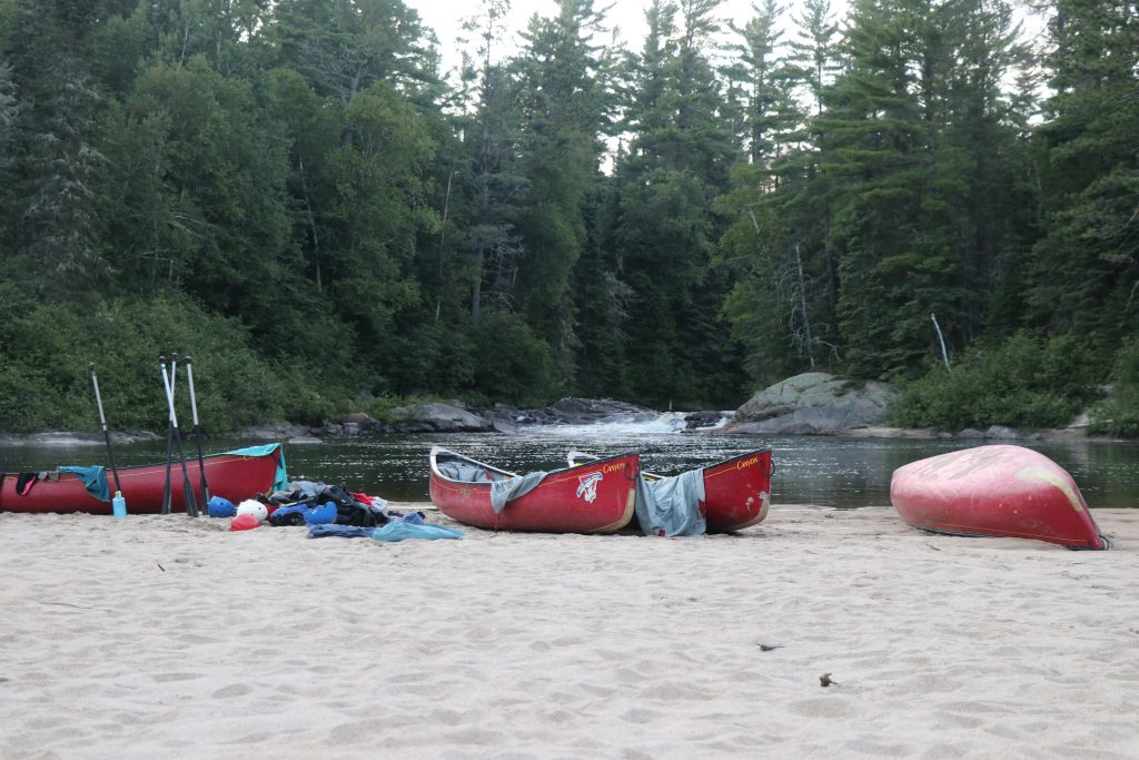 Canoes on a sand bank