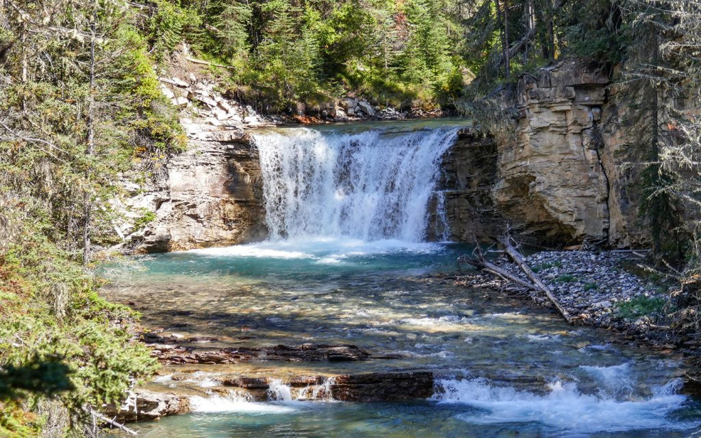 View of falls in Johnston Canyon, one of the best hikes in Banff