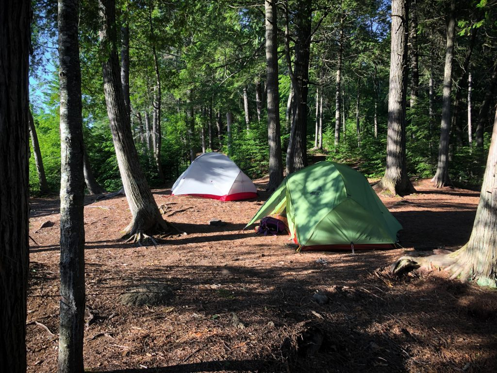 Two tents set up at a campsite at Provoking East in Algonquin
