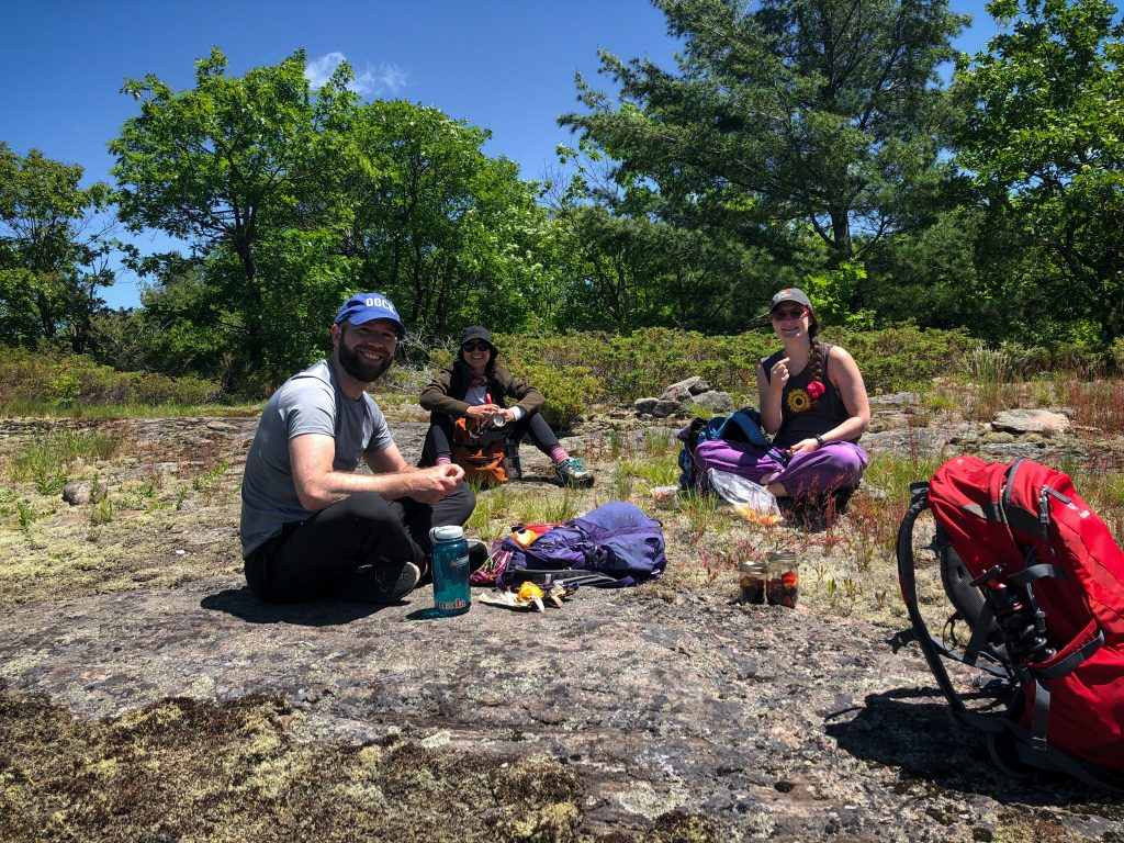 Stopping for a snack on the McCrae Lake hike